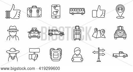 Hitchhiking Automobile Icons Set. Outline Set Of Hitchhiking Automobile Vector Icons For Web Design