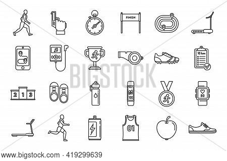 Running Trail Icons Set. Outline Set Of Running Trail Vector Icons For Web Design Isolated On White