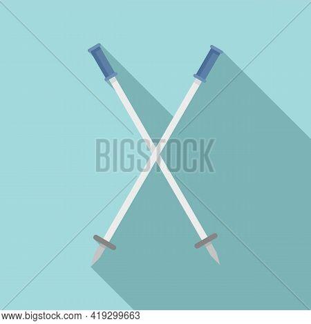 Ski Sticks Icon. Flat Illustration Of Ski Sticks Vector Icon For Web Design