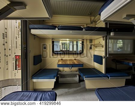 Night Train Carriage. Train Carriage Inside At Night