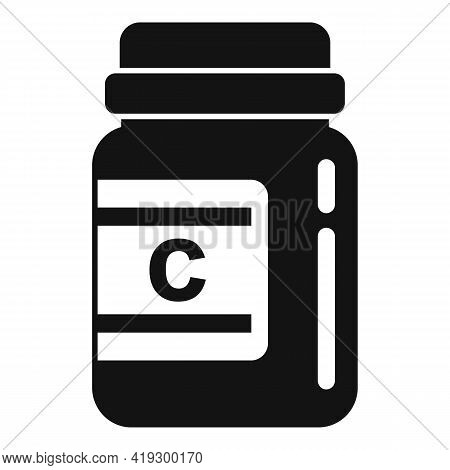 Vitamin Jar Icon. Simple Illustration Of Vitamin Jar Vector Icon For Web Design Isolated On White Ba
