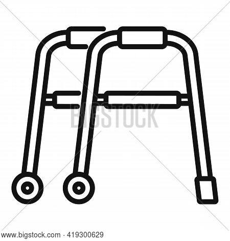 Senior Walker Icon. Outline Senior Walker Vector Icon For Web Design Isolated On White Background
