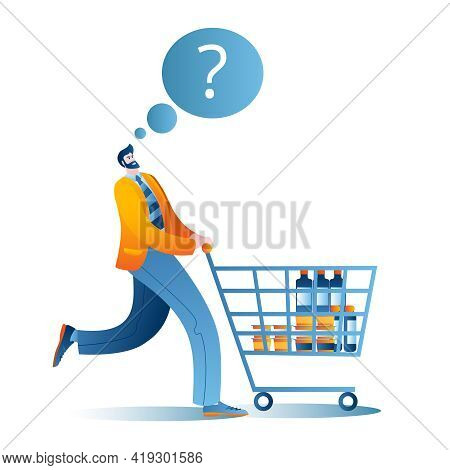 A Man Goes To The Supermarket With A Cart. A Conceptual Illustration On The Topic Of A Supermarket.
