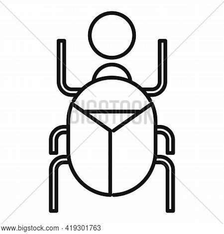 Africa Scarab Beetle Icon. Outline Africa Scarab Beetle Vector Icon For Web Design Isolated On White