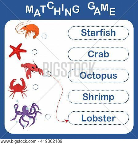 Vector Illustration With A Children's Educational Game With Underwater Sea Inhabitants. Connect The