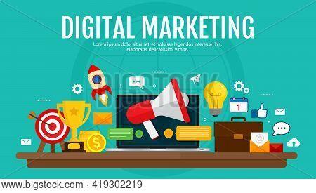 Digital Marketing And Digital Advertising Concept. Media Promotion, Social Network, Seo. Vectro Illu