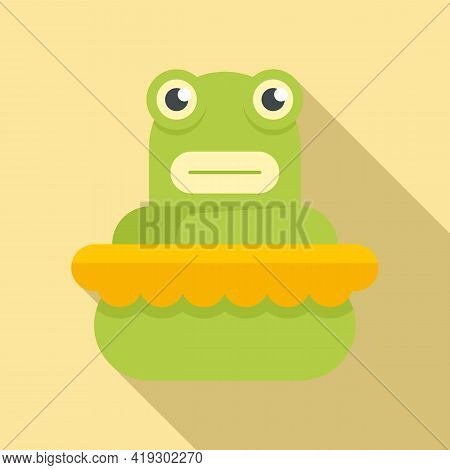 Frog Bath Toy Icon. Flat Illustration Of Frog Bath Toy Vector Icon For Web Design