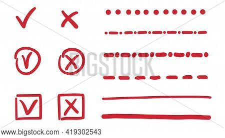 Hand Drawn Checkmark. Colored Set Of Check Marks. Freehand Underlines On White. Colorful Illustratio