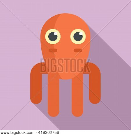 Octopus Toy Icon. Flat Illustration Of Octopus Toy Vector Icon For Web Design