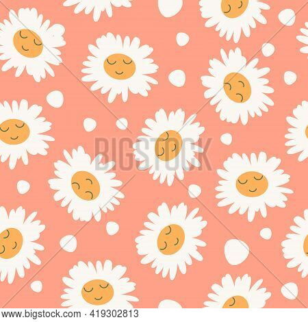 Abstract Floral Seamless Pattern With Chamomile With Cute Faces On Pink Background. Trendy Hand Draw