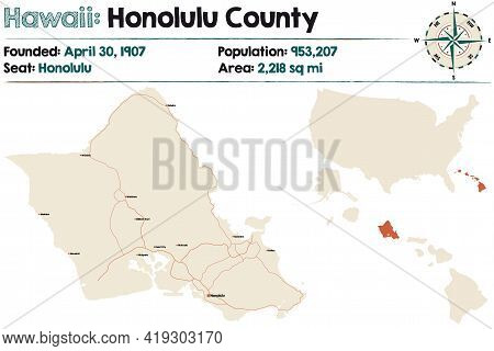 Large And Detailed Map Of Honolulu County In Hawaii, Usa.