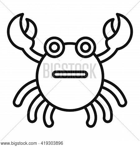 Crab Bath Toy Icon. Outline Crab Bath Toy Vector Icon For Web Design Isolated On White Background