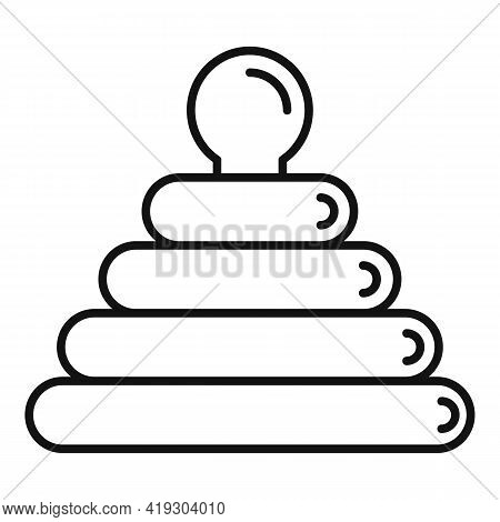 Toy Pyramide Icon. Outline Toy Pyramide Vector Icon For Web Design Isolated On White Background