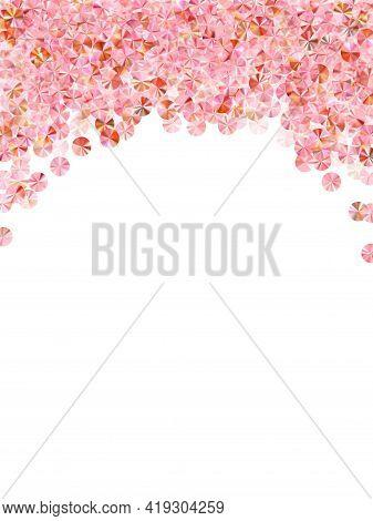 Rose Gold Paillettes Confetti Placer Vector Composition. Rhythmic Gymnastics Dress Sequins Backgroun