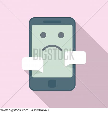 Bad Chat Teen Problem Icon. Flat Illustration Of Bad Chat Teen Problem Vector Icon For Web Design