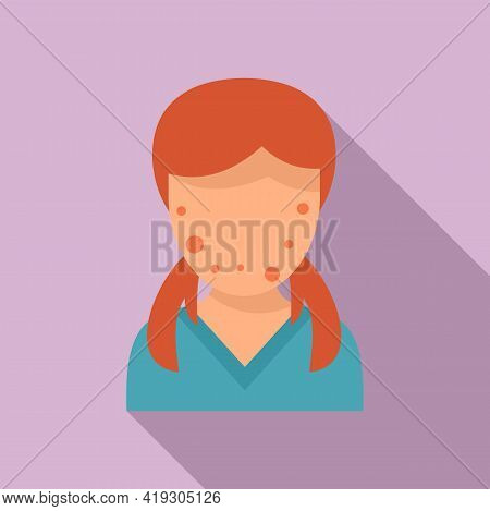 Girl Face Skin Teen Problems Icon. Flat Illustration Of Girl Face Skin Teen Problems Vector Icon For