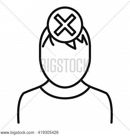Reject Boy Teen Problems Icon. Outline Reject Boy Teen Problems Vector Icon For Web Design Isolated