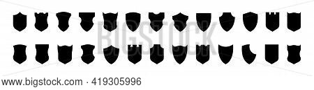 Shield Vector Collection. Shield Black Flat Vector Icon Set. Protection Safety Defence Security Symb