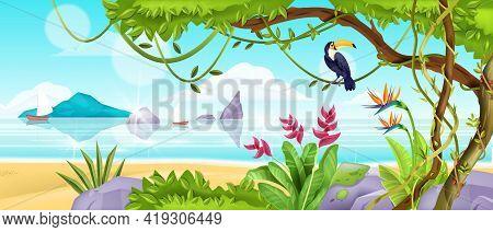 Summer Jungle Beach Landscape, Vector Tropical Island Nature Background, Ocean, Sand, Toucan, Liana,