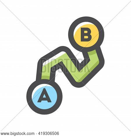 Point A To Point B Route Vector Icon Cartoon Illustration.