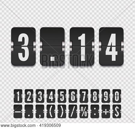 Analog Countdown Number Font. Flip Number And Symbol Scoreboard With Shadows. Vector Illustration Te