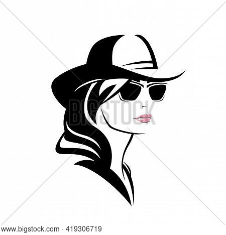 Beautiful Cowgirl With Long Hair Wearing Sunglasses And Traditional Cowboy Hat - Woman Head Vector P
