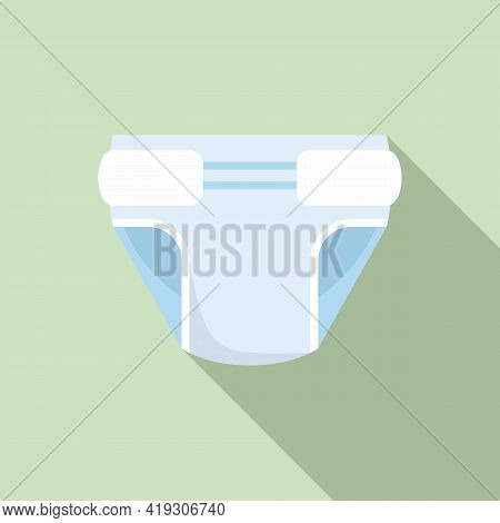 Baby Boy Diaper Icon. Flat Illustration Of Baby Boy Diaper Vector Icon For Web Design