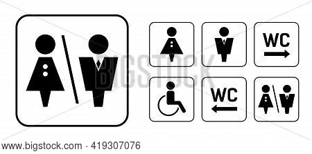 Wc Sign Icon In Square. Set Washroom Vector Sign.