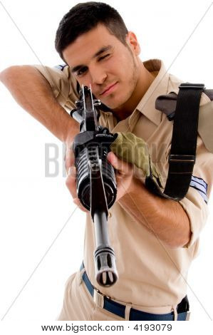 Young Soldier Going To Shoot With Gun