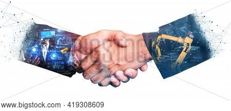 Mechanized Industry Robot Arm And Business Handshake Double Exposure . Concept Of Successful Agreeme