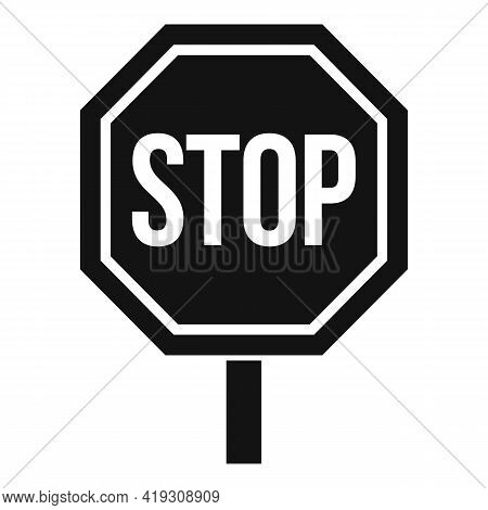 Stop Road Sign Icon. Simple Illustration Of Stop Road Sign Vector Icon For Web Design Isolated On Wh