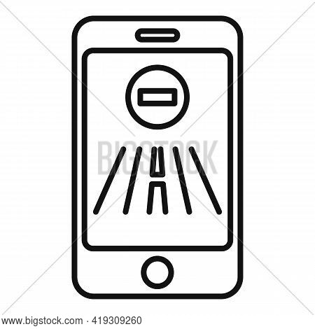 Driving School Smartphone Icon. Outline Driving School Smartphone Vector Icon For Web Design Isolate