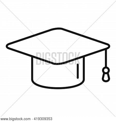 Driving School Graduation Hat Icon. Outline Driving School Graduation Hat Vector Icon For Web Design