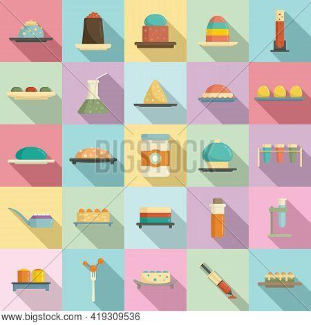 Molecular Cuisine Icons Set. Flat Set Of Molecular Cuisine Vector Icons For Web Design