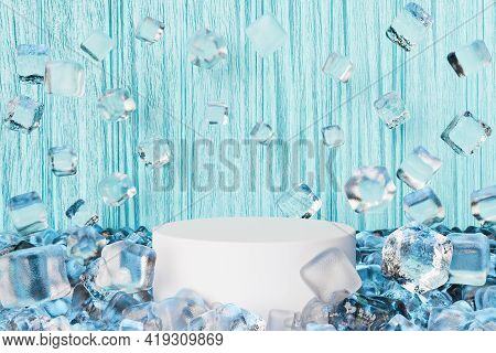 Cylinder For Product Display With Ice Cubes Floating Around And Blue Wooden Background. Fresh. 3d Re
