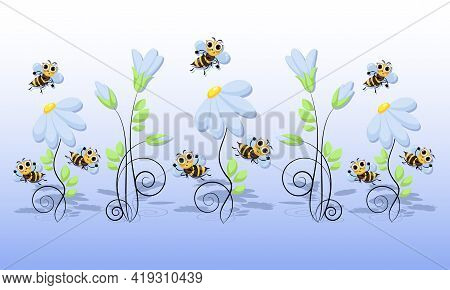 Honey Bees Swarm. Garden Flowers. World Bee Day. Bee Swarming, Honey Bees Fly In A Chamomile Meadow.