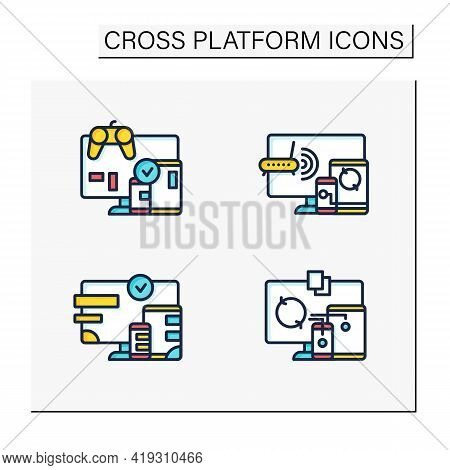 Cross Platform Color Icons Set. Programming Environment. Playing, Multiplayer, Design, Files Syncing