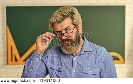 Nerdy Bearded Student. Back To School. Develop Logic And Creativity. Start The Brain Engine. Physics