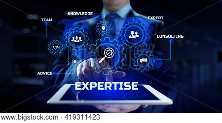 Expertise Business Consulting Concept. Businessman Pressing Button On Screen