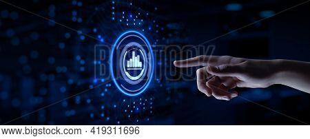Analysis Data Business Analytics. Hand Pressing Button On Virtual Screen