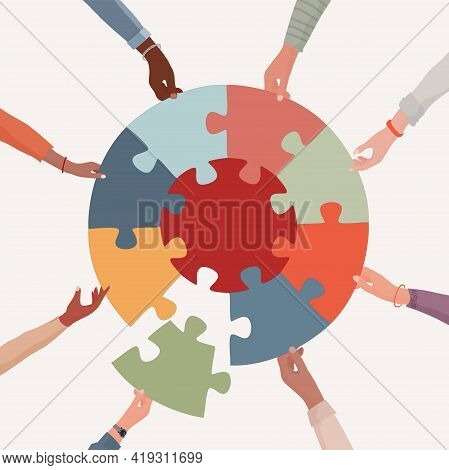 Missing Link.arms Of Hands Of People Or Co-workers Of Diverse Races Holding Jigsaw Puzzle Pieces Tha