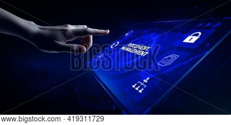 Dms Document Management System Business Automation Technology Concept. Hand Pressing Button On Scree