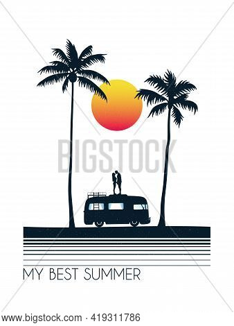 Lovers On Car Roof. Couple Silhouette On Palm Beach. Summer Vacation