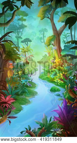 Dream Forest. Nature Scene. Fantasy Backdrop. Concept Art. Realistic Illustration. Video Game Backgr