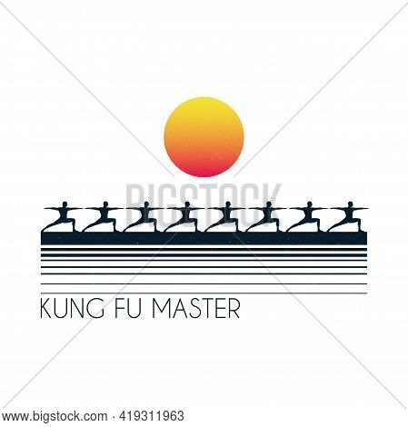 Morning Yoga. Kung Fu Outdoors. Male Yogis In Warrior Pose Silhouette