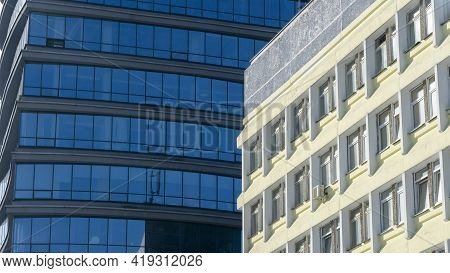 Fragment Of A Modern Building. Modern Architecture Design. Structural Glass Facade Of Modern Office