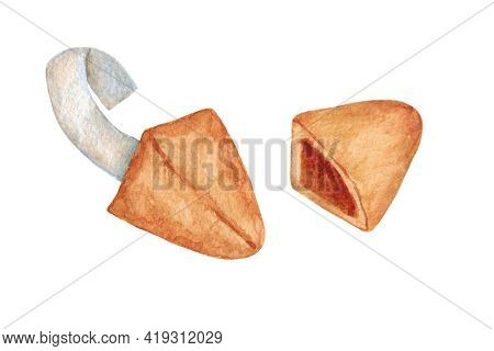 Fortune Cookies. Cookie With Predictions. Chinese New Year Cookies With Predictions. Objects Isolate