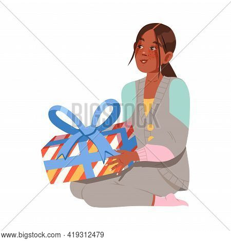 Excited Woman Receiving Wrapped Gift Box For Special Occasion Like Birthday Or Holiday Celebration V