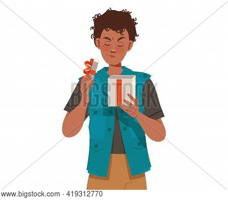Freckled Man Opening Gift Box Frowning With Dissatisfaction Vector Illustration
