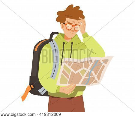 Male In Hoody With Backpack Examining Map Scratching His Forehead With Puzzlement Vector Illustratio